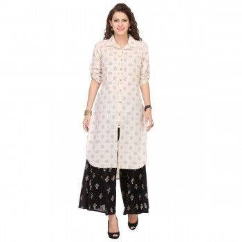 Cotton Off White Printed Stitched Kurti With Palazzo - W1610NN