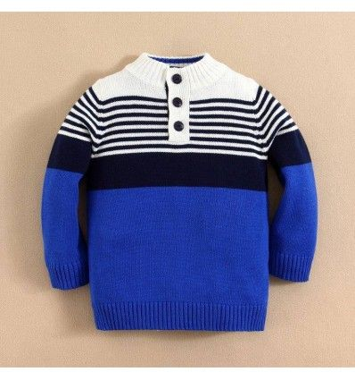 Jual sweater bayi anak Mom and Bab Sweater - Solid Button Neck Cable Sweater Blue