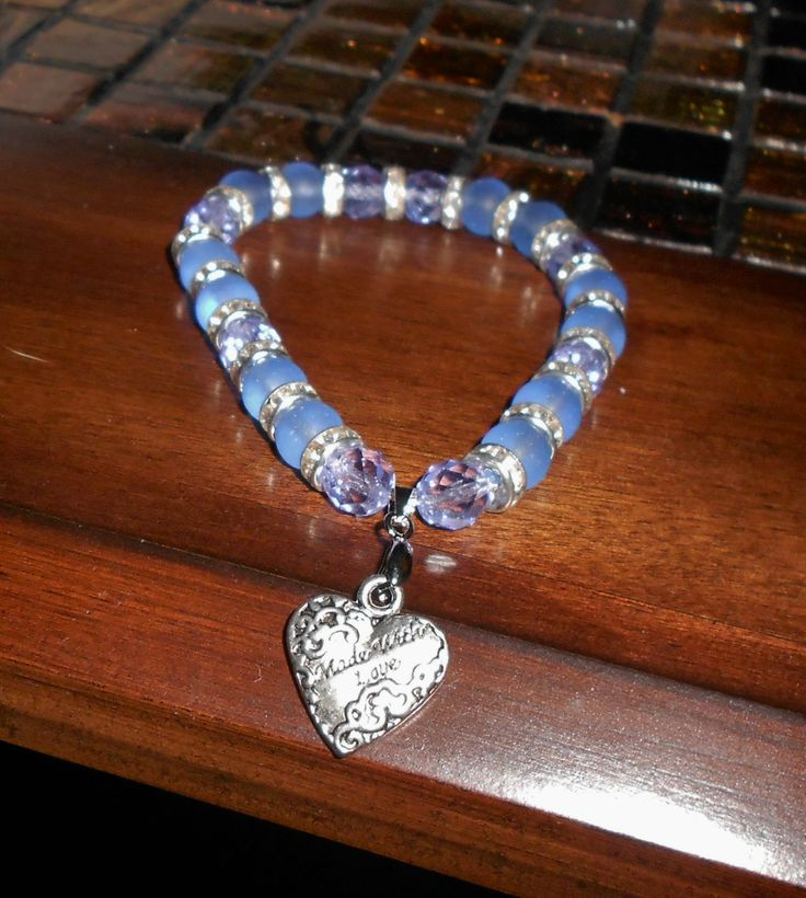 """Blue Stretch Bracelet with """"Made with love"""" Charm https://www.etsy.com/shop/2BeadWithLove"""
