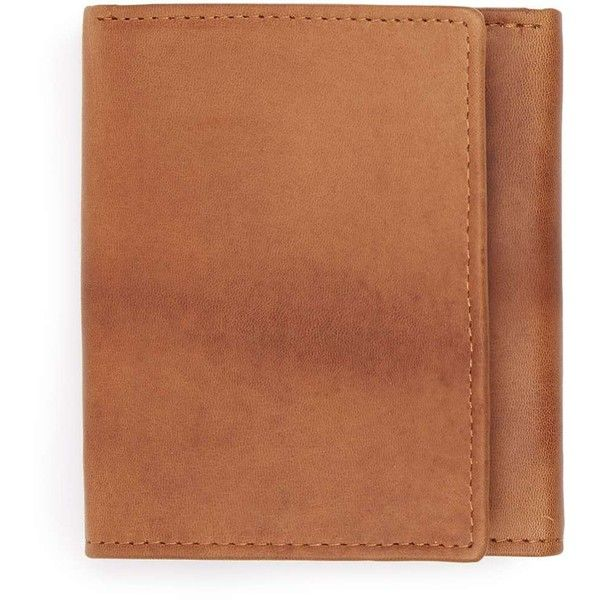 TOPMAN Tan Leather Trifold Wallet (£16) ❤ liked on Polyvore featuring men's fashion, men's bags, men's wallets, brown, mens brown leather wallet, tri fold mens leather wallet, mens leather wallets, mens trifold wallets and mens tri fold wallet