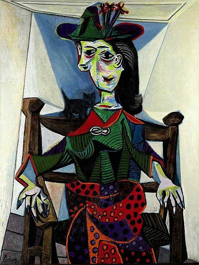 Пабло Пикассо «Дора Маар с кошкой» (1941). $95,2 млн. Продана наследниками производителя косметики, щипцов для волос и фенов Джеральда Гидвица на аукционе Sotheby`s в 2006 году грузинскому бизнесмену Борису Иванишвили