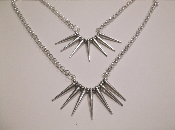 Small Silver Curved Metal Spike Necklace  Length-49cm  Price- $20  Contact- kendal.halloran@gmail.com
