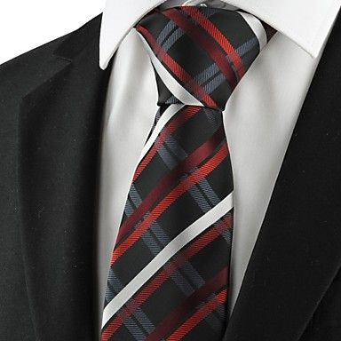Mens Formal Black Necktie Striped Red White And Grey
