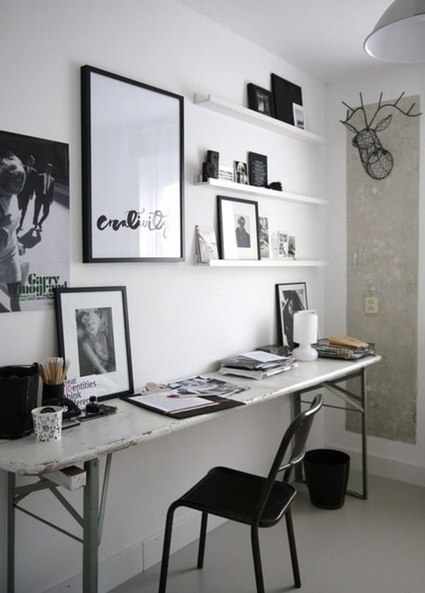 Eclectic Home Office with gorgeous floating shelves