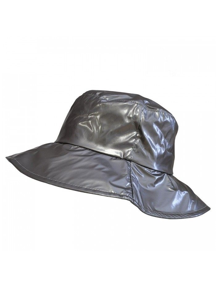c42b9f90aef25 Wide-Brimmed Vinyl Rain Hat - Grey - CQ11UYFK3VT - Hats   Caps