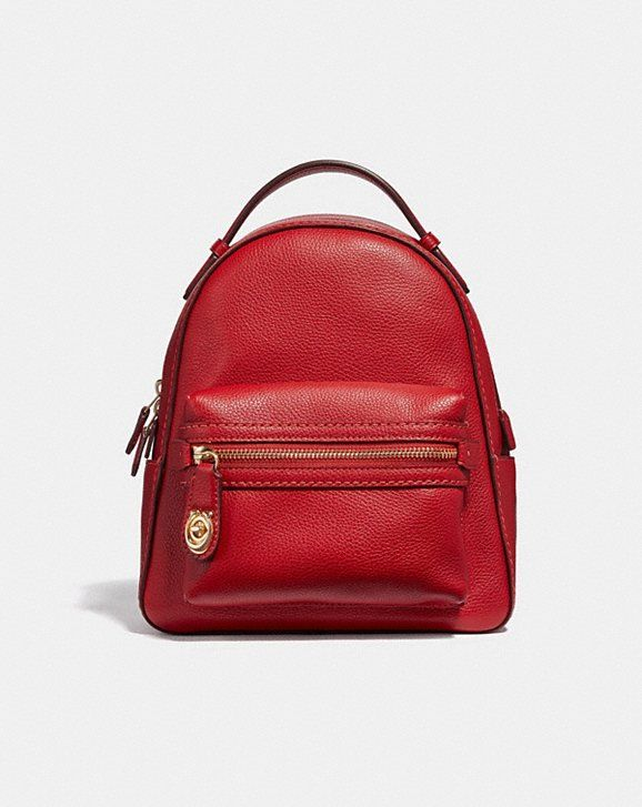 81dbb7febdc2 COACH  Campus Backpack 23 In Polished Pebble Leather (JASPER LIGHT GOLD)   295