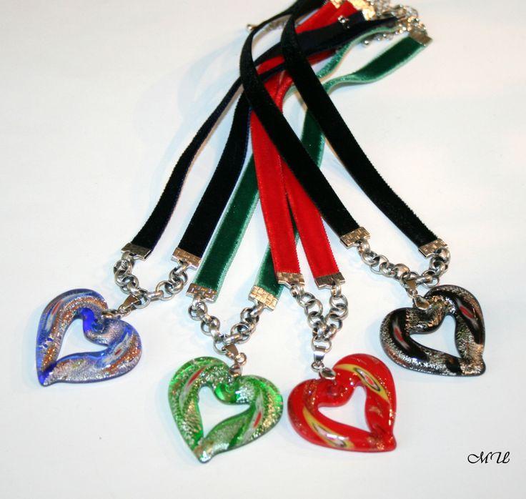 Halskette  mit buntem Glasherz von Edelweiss51 auf Etsy