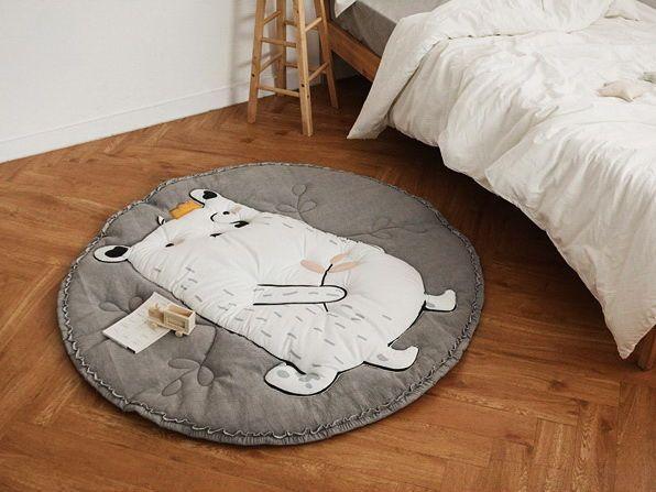 Купить Коврик детский - белый, коврик для детской, коврик, матрасик, матрас, плед, мишка, ежик