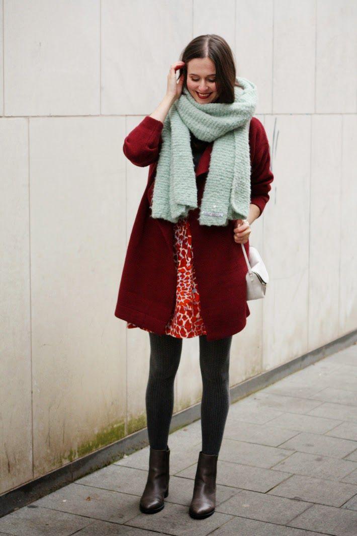 oversized scarf, burgundy coat