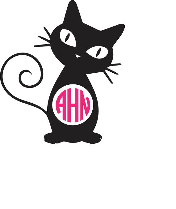 Cat Monogram Decal Cute Yeti Decal Cat Lover By