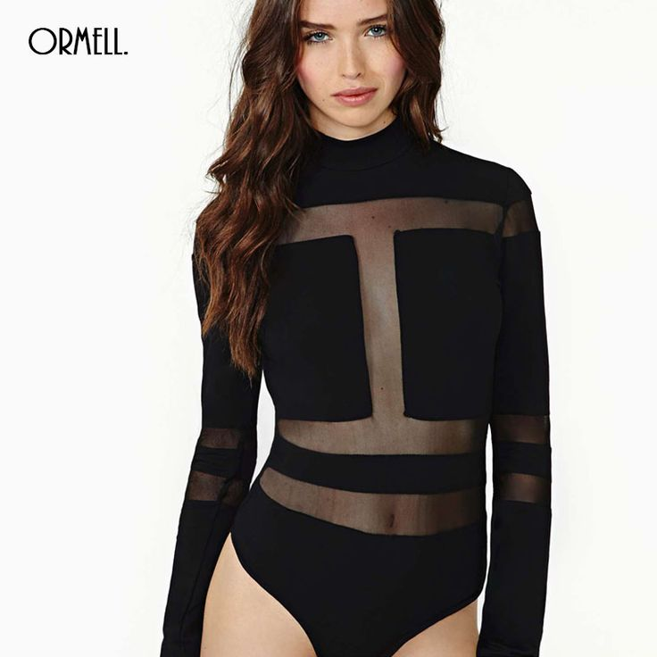 ORMELL Turtle Neck Mesh Playsuit One Piece Set Sexy Women Catsuit Long Sleeve Lady Rompers Black Autumn Slim Bodysuit #womenstyle #woman