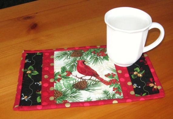 Christmas Mug Rugs   Christmas Holiday Quilted Mug Rugs, Cardinals and Pinecones, Set of 2 ...