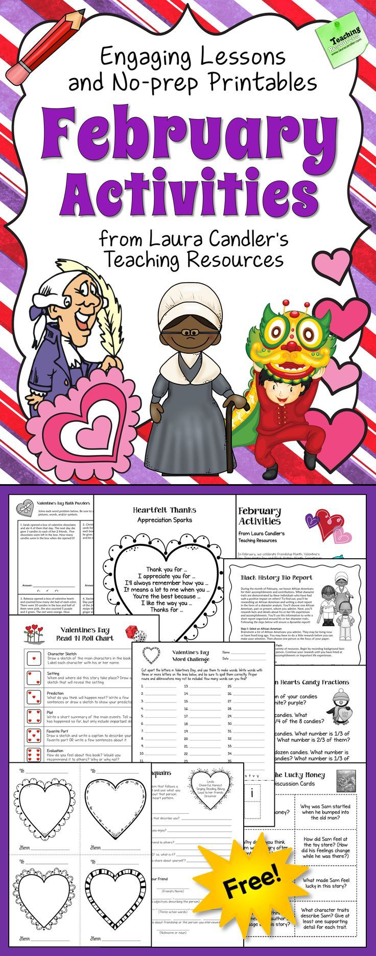 Free February printables and activities for upper elementary, a 26-page pack with thematic no-prep lessons for Valentine's Day, Friendship Month, Black History Month, Presidents' Day and the Chinese New Year. Newly updated!
