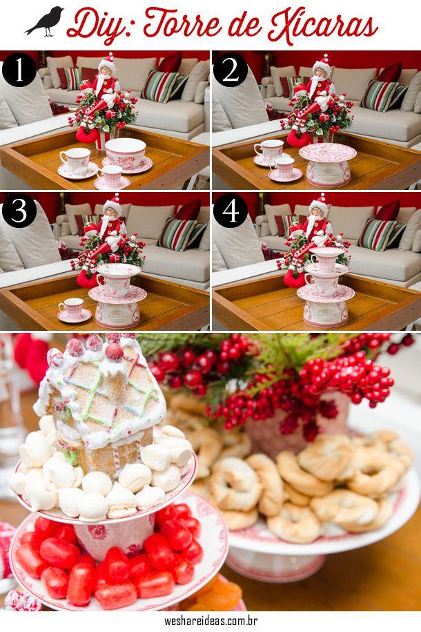projeto diy de torre de xícaras e bowls com louça branca e estampa vermelha para decoração de natal. casa andar do prato de doces foi coberto com suspiros, balas e biscoitos.