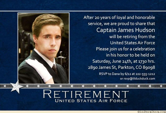 Air Force retirement invitation, 2017 event card uses classic navy blue & white colors in crisp design. Your personalized military retirement card share