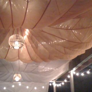 Parachutes Illuminated For A Wedding Reception