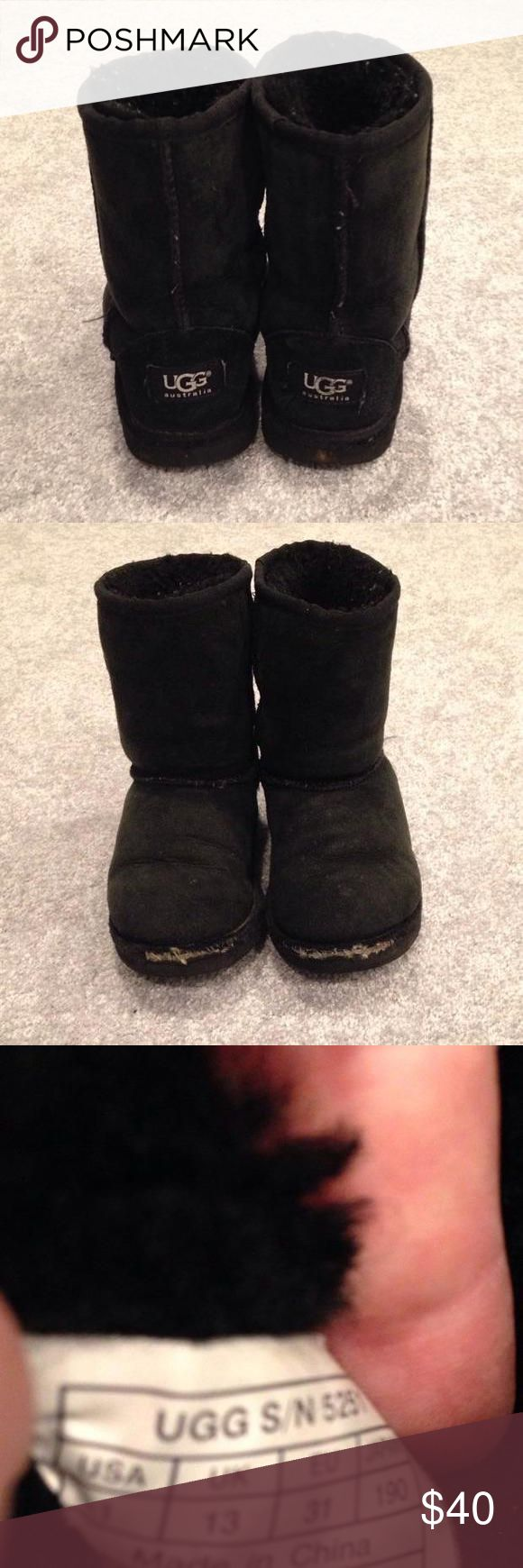 "📣SALE📣  UGG Black Boots - Kids Size 1 📣SALE📣  These Kids Size 1 (US) Authentic UGG boots (purchased at Nordstrom) are yours for a fraction of the cost!!  From heel to top of boot is almost 8"" (inches).  These are in pre-loved condition, which you can see.  One thing about UGG boots, kids love 'em!  All sales are final. UGG Australia Shoes"