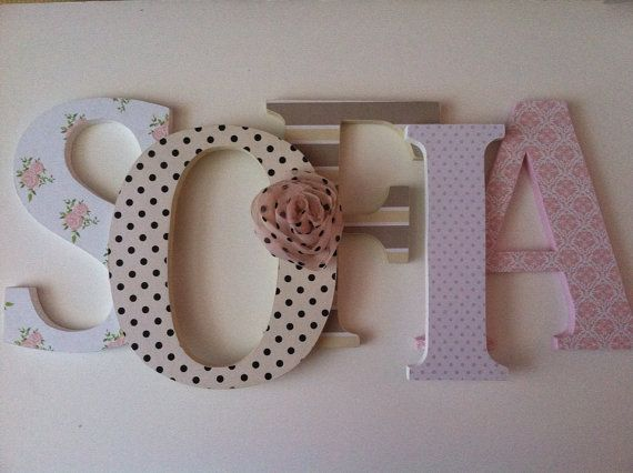 tan pink white nursery | Wooden letters for nursery in pink, tan, black and white. Matilda Jane ...