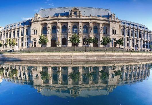 Justice Palace on the Dambovita River in Bucharest, Romania