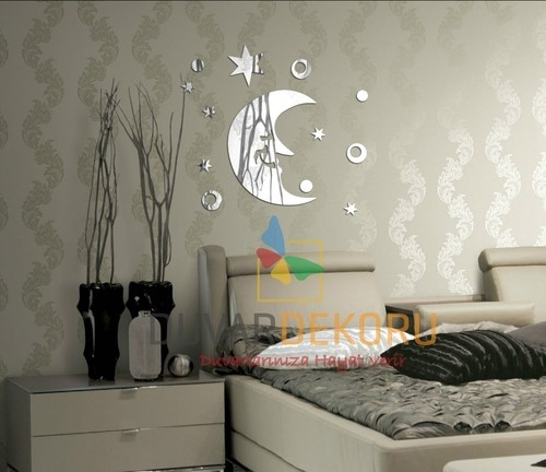 mirror wall clock for all every home wall decoration moon stars ebay