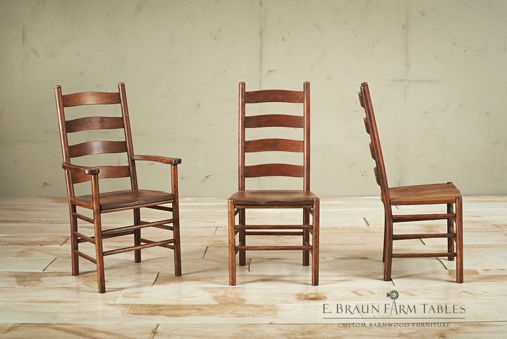 Shaker Ladder Back Chairs With Button Tops Crafted Of
