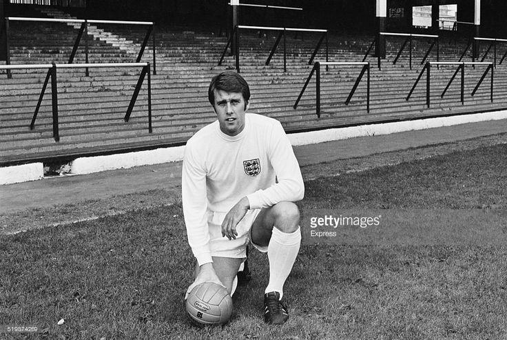 England international footballer, Geoff Hurst, in the strip the England national football team will wear in the 1970 FIFA World Cup, 1969.