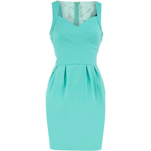 Aqua lace back dress ($89) ❤ liked on Polyvore