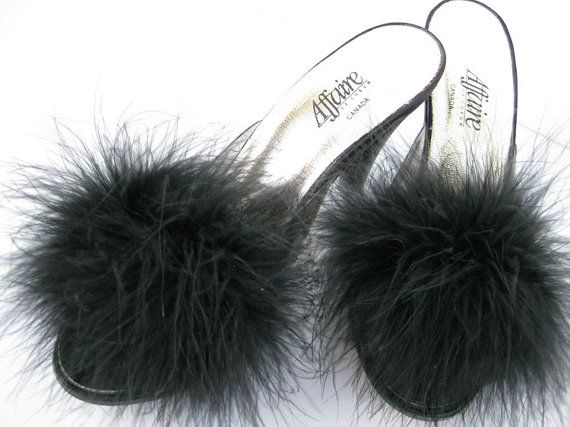 Vintage Marabou High Heel Slippers  never by myvictoriancottage
