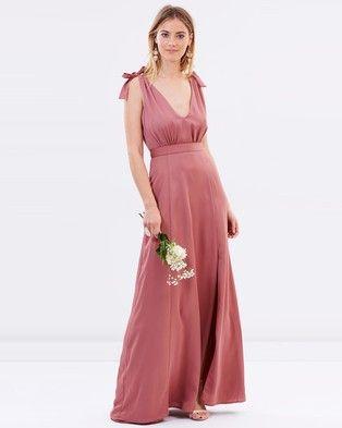 Atmos & Here – Amelie V Neck Maxi Dress – Bridesmaid Dresses Rose Dust