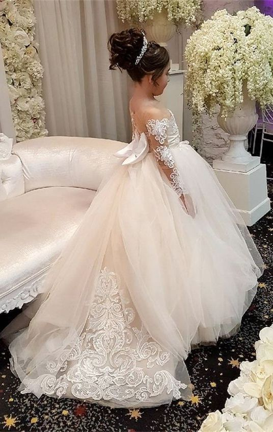 d9b832ec2f9 A-Line Round Neck Light Champagne Flower Girl Dress with Appliques