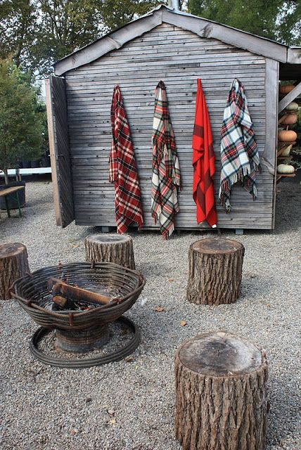 Fire Circle - like the addition of plaid wool blankets nearby for chilly temps too.