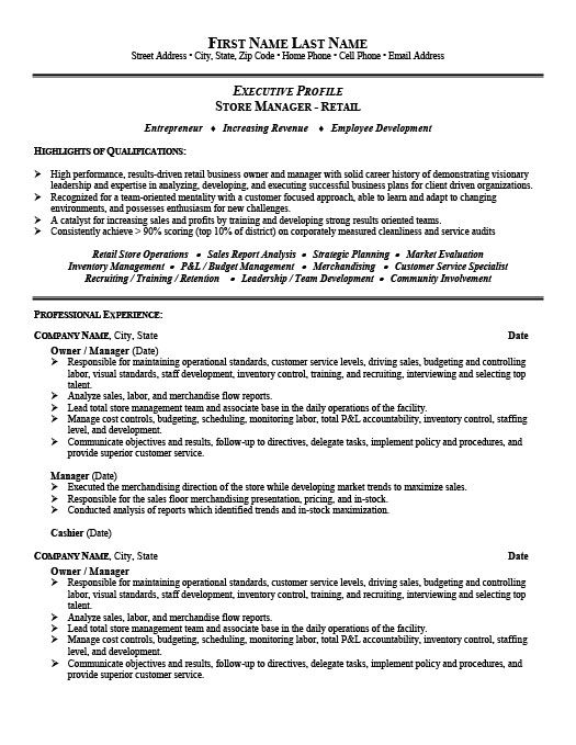 store manager or owner resume template