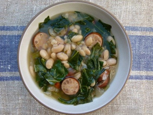 Slow Cooker White Bean Soup with Sausage and Collard Greens (Stovetop Version, Too!)