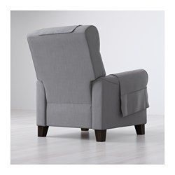 IKEA - MUREN, Recliner, Nordvalla medium gray, , Adjustable so that you can choose three positions, from upright sitting to reclining.When you lean backwards, the built-in footrest folds out.The high back provides good support for your neck.