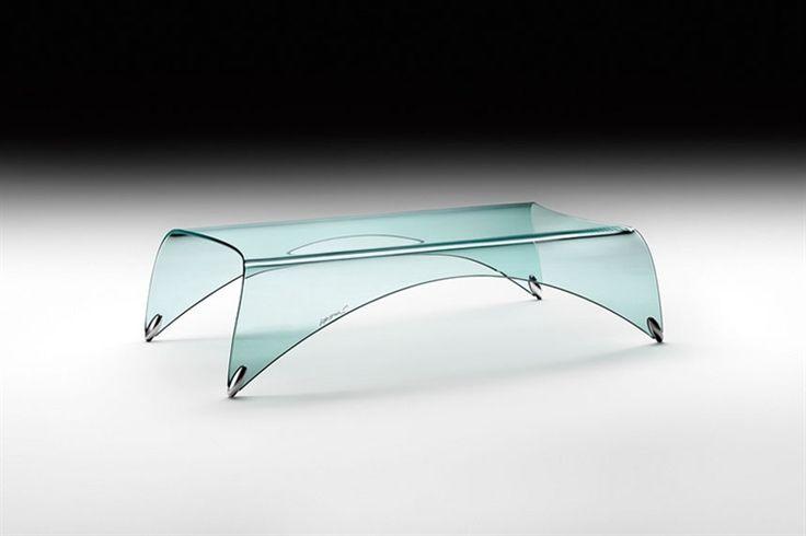 GlazenDesignTafel.nl | Stijlvolle glazen salontafel Genio in gebogen glas, voorzien van aluminium poten | design by Massimo Iosa Ghini | vidre glastoepassingen | Leiden