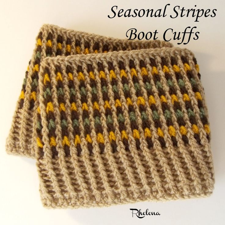 FREE crochet pattern for the Seasonal Stripes Boot Cuffs. The cuffs are designed to fit a small, but can be adjusted in size as needed.