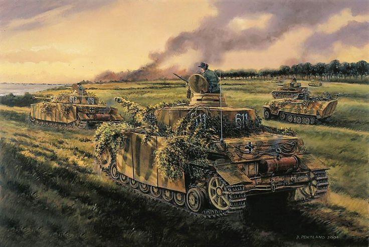 Contraataque de la 21ª División Panzer en Normandía entre los canadienses y la playa de Juno, aunque la mayoría de los tanques fueron bloqueados o destruidos y en última instancia solo seis llegan hasta el mar en Lion sur Mer, teniendo que retirarse poco más tarde para no quedar copados. Cortesía de David Pentland. http://www.elgrancapitan.org/foro/viewtopic.php?f=12&t=17519&p=881487#p881337