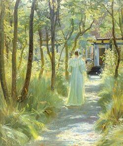 """P. S. Krøyer:""""Marie Krøyer i morgentoilette i haven, Skagen, 1895."""