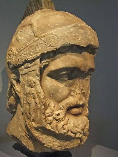 Head of Mars Roman God of War probably a copy of statue of Ares by 4th century Greek sculptor Leochares Marble 2nd century CE