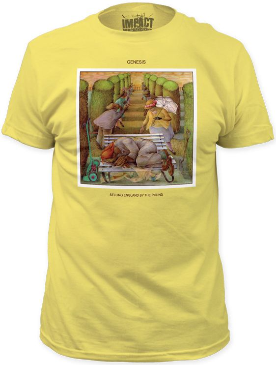 This Genesis tshirt spotlights the album cover artwork to the band's Selling England by the Pound. Featuring a painting by Betty Swanwick called The Dream as the album cover, Selling England by the Pound was Genesis' fifth studio release and hit the record store shelves 40 years ago on October 12, 1973. Our men's tee is yellow, prominently displays The Dream painting and is made from 100% cotton.