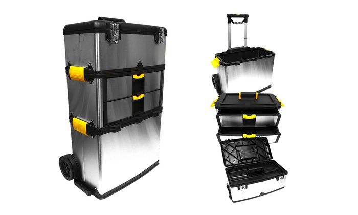 Stalwart Three-Part Mobile Stainless Steel Tool Box: Stalwart Three-Part Mobile Stainless Steel Tool Box
