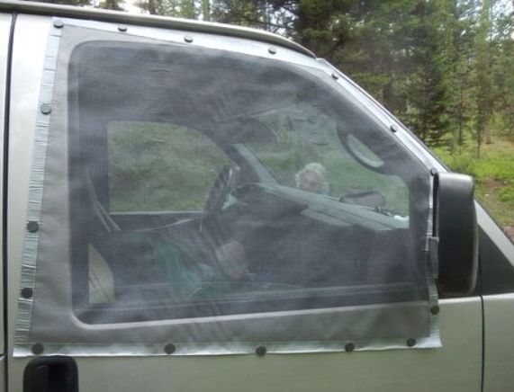 Easy method to add screens to your car/truck windows.  1. Cut screen two or 3 inches bigger of window, 2. Place screen  on window 3. than place small magnets all around to hold screen.