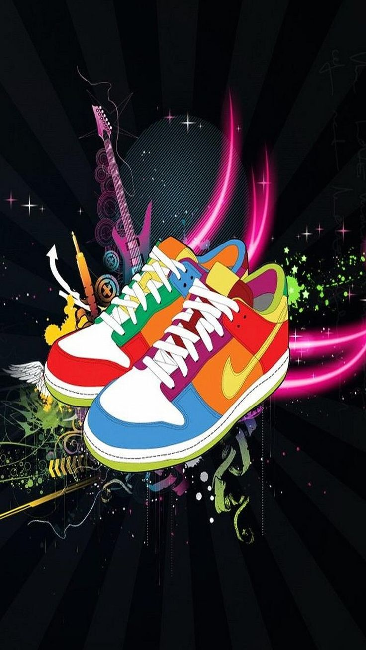 ↑↑TAP AND GET THE FREE APP! Art Multicolored Nike Shoes Black Cool Sneakers HD iPhone 6 plus Wallpaper