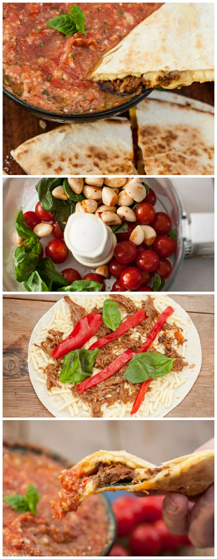 Italian Beef and Roasted Red Pepper Quesadillas with Tomato and Basil ...