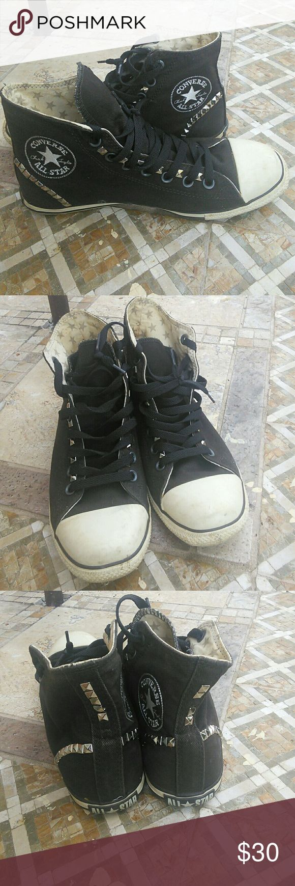 Custom made high top converse Pre loved custom made converse (I added studs)still lot of life in them Converse Shoes Sneakers