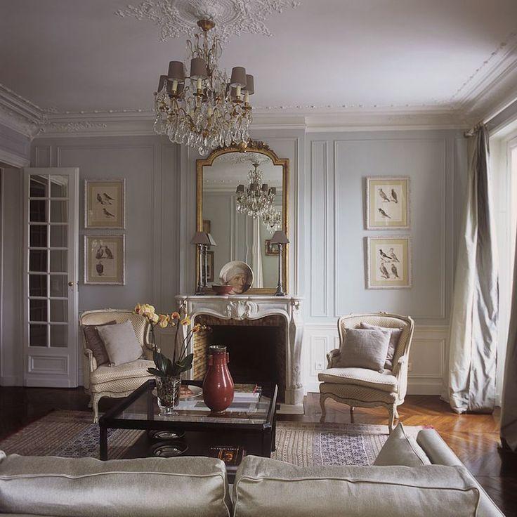 Haven in Paris~botanicals, gilt mirror, boiserie, billowing silk curtains, parquet floor, fireplace, chandelier and bergeres.