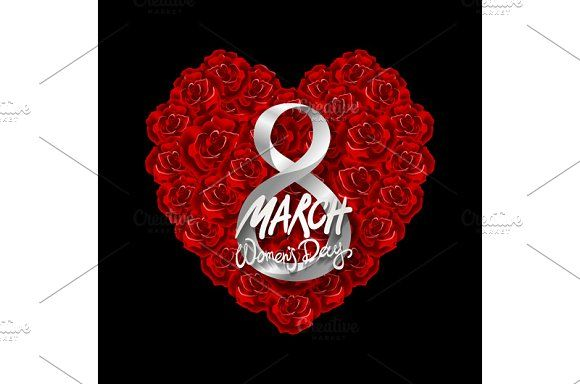 8 March women day, vector rose heart by Rommeo79 on @creativemarket
