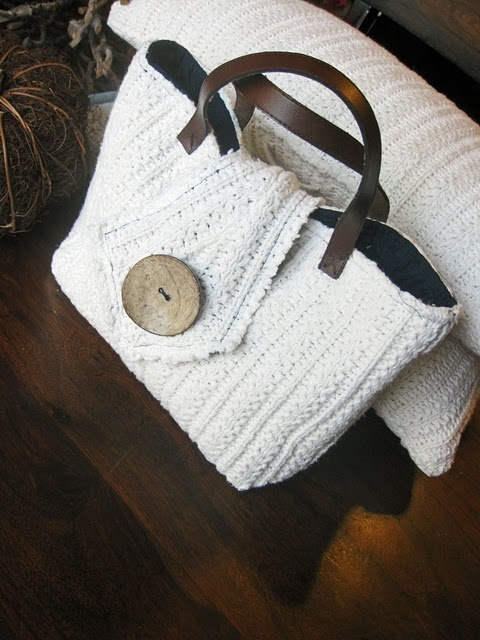 Upcycled sweater purse, so cute