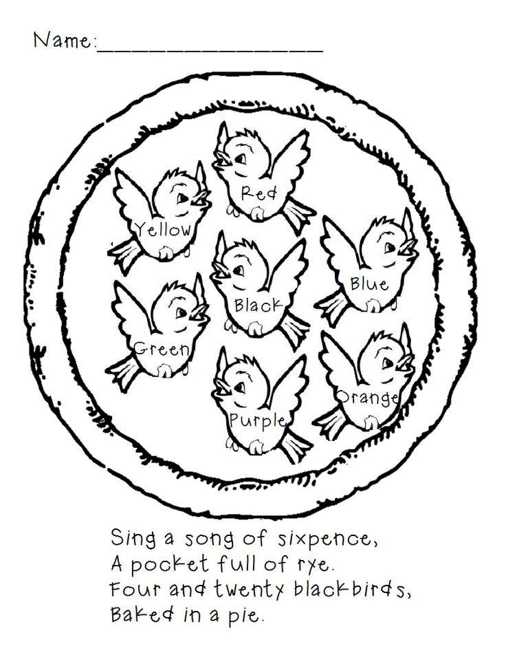 50 Best Nursery Rhyme Activities Images On Pinterest Nursery - rhyming words coloring pages