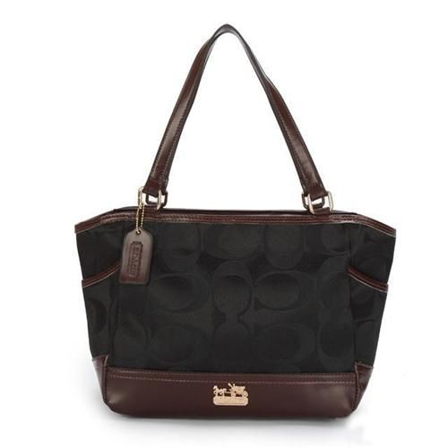 Coach Legacy Logo In Monogram Small Black Totes BPK Give You The Best feeling!